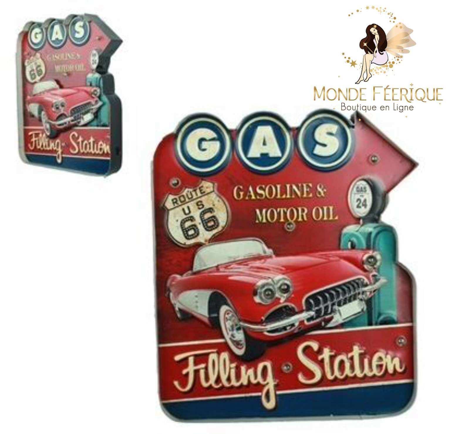 Plaque Metal Lumineux Vintage Voiture USA Red 42cm
