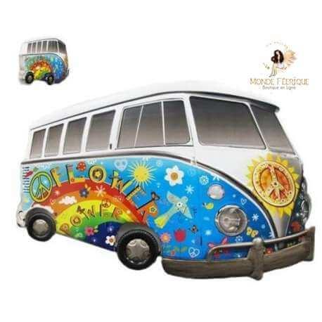 Plaque Metal Lumineux Camion Hippie 66cm