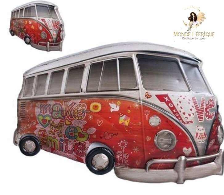 Plaque Metal Lumineux Camion Hippie Rouge 66cm