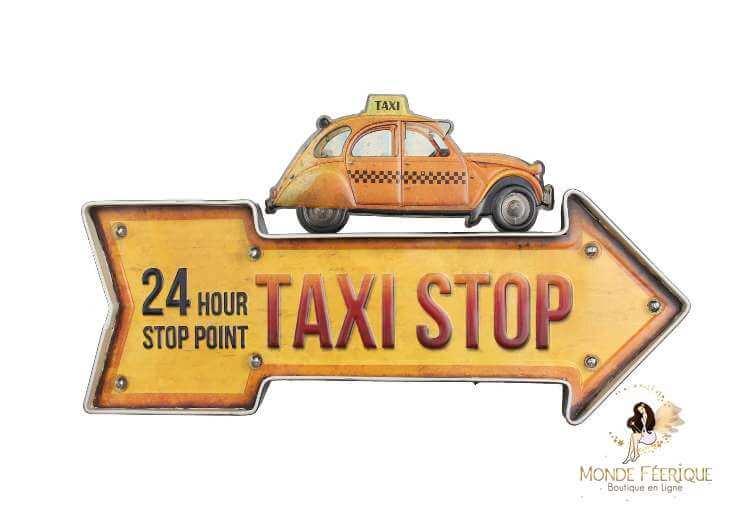 Plaque Metal Lumineux Fleche Taxi Jaune 48cm