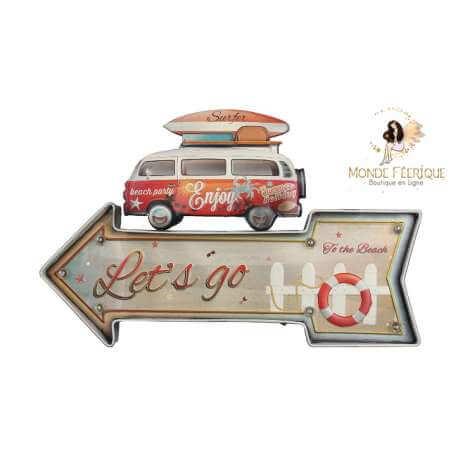 Plaque vintage Mur Fleche Hippie Cool Surf