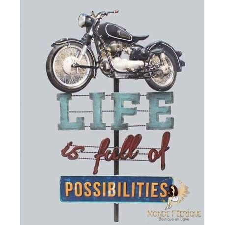Enseigne lumineux Moto USA Possibilité Vintage 75 cm LED Lumineux
