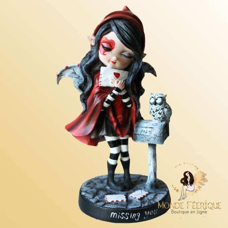 Figurine Fée Amoureuse Rouge -- 16,5cm
