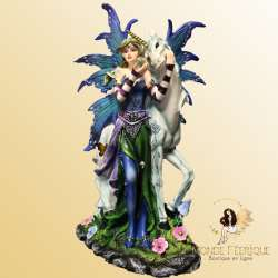 Statue Fée Licorne Magie Merveille -- 24cm