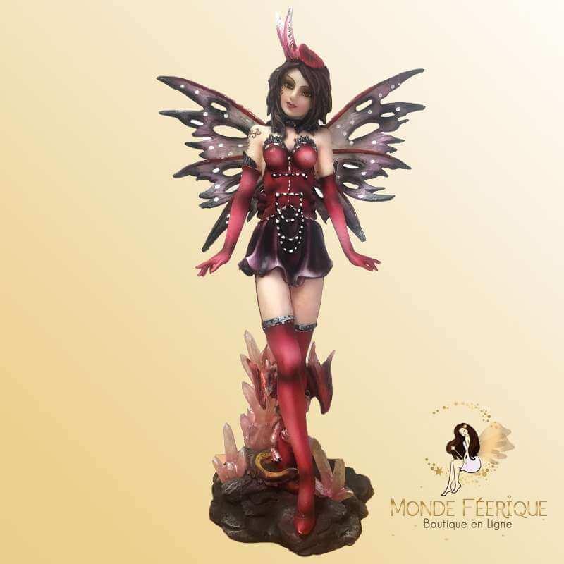 Figurine Fée & Cristaux Roses -- 27cm