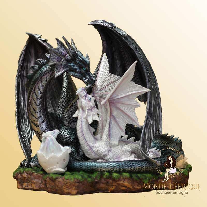 Statuette 2 Dragons avec Bébé Dragon