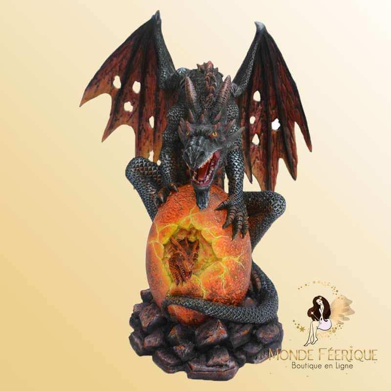 Grande Statuette Dragon avec Oeuf du Feu