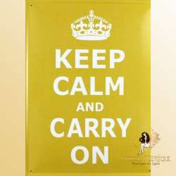 "Plaque retro vintage ""Keep Calm & Carry On"""