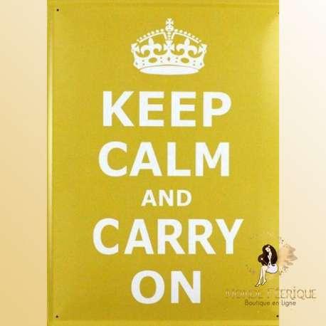 "Plaque retro vintage ""Keep Calm & Carry On"""