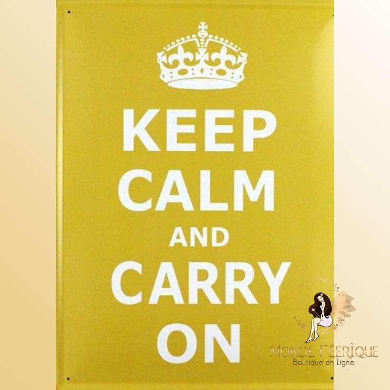 """Plaque Métal """"Keep Calm & Carry On"""" 40cm"""