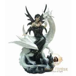 Statuette Fée Dragon blanc et noir