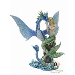 Statuette Fée Sirène & Dragon -- 28cm