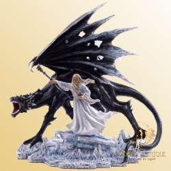 Statue Dragon Geant avec Merlin -- 35cm