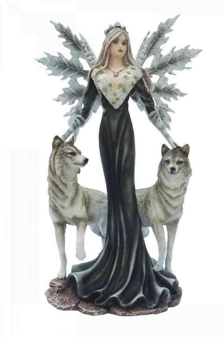Figurine Fée Blanche avec 2 Loups