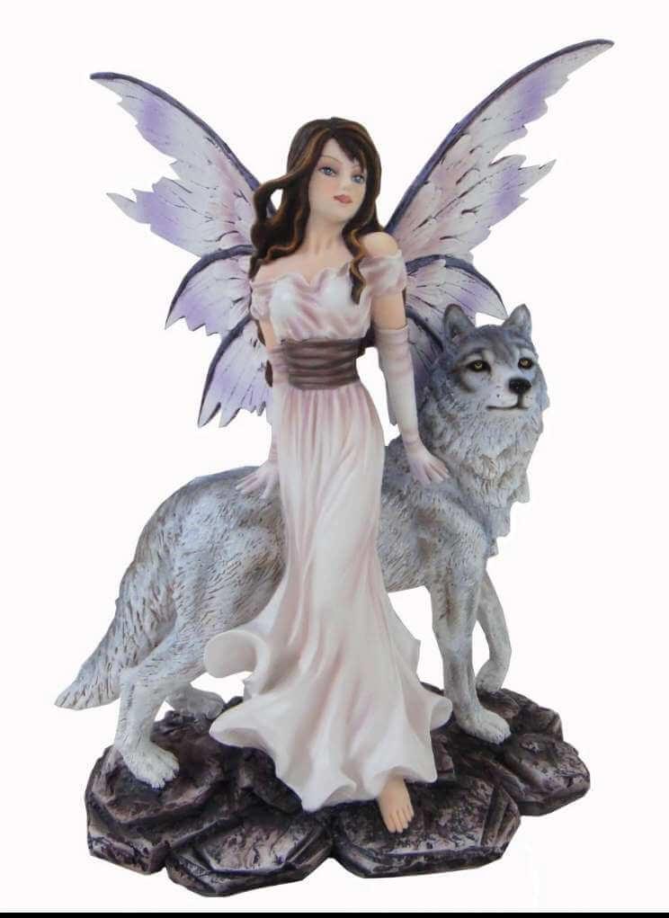 Statuette Fée Diaphane et Loup --27cm