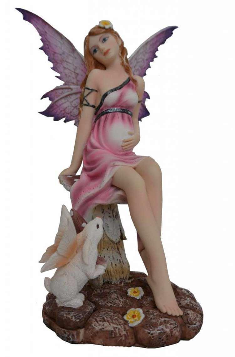 Figurine Fée Rose Enceinte avec Lapin
