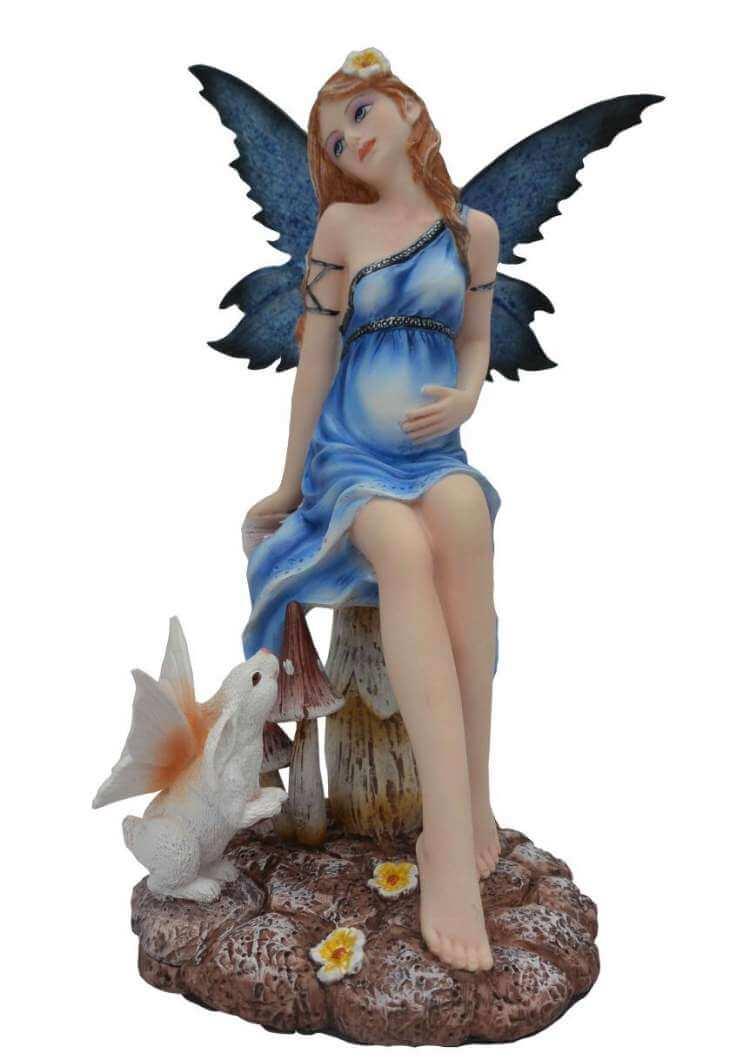 Figurine Fée Bleue Enceinte avec Lapin