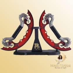 Dague Couteaux Dragons Rouge Fantaisie x2