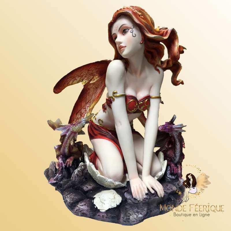 Figurine Fée automnale avec Dragon -- 23,5cm