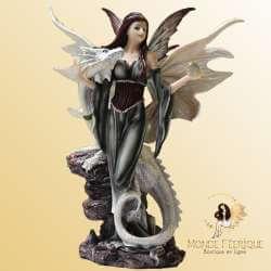 Statuette Fée avec Dragon Blanc -- 32cm