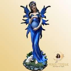 Statuette Fée Enceinte Bleutée