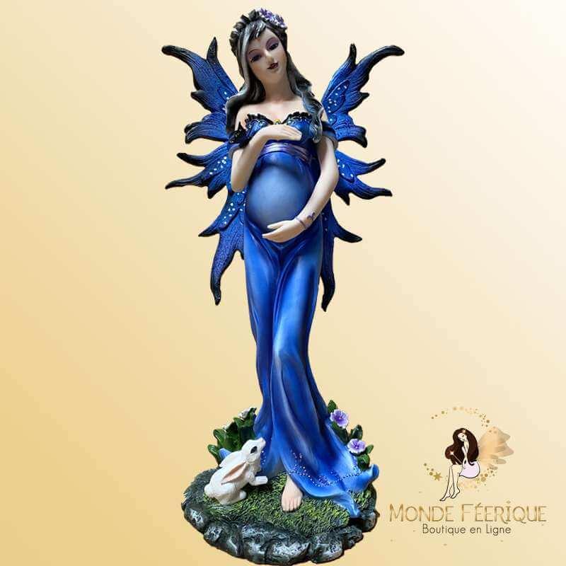 Statuette Fée Enceinte Bleutée -- 29cm