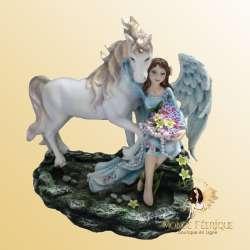 "Figurine Fée & Licorne ""Bonheur"" -- 21cm"