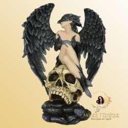 Statue Fée Gothique & Crâne -- 39cm