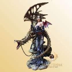 statuette fée avec un dragons