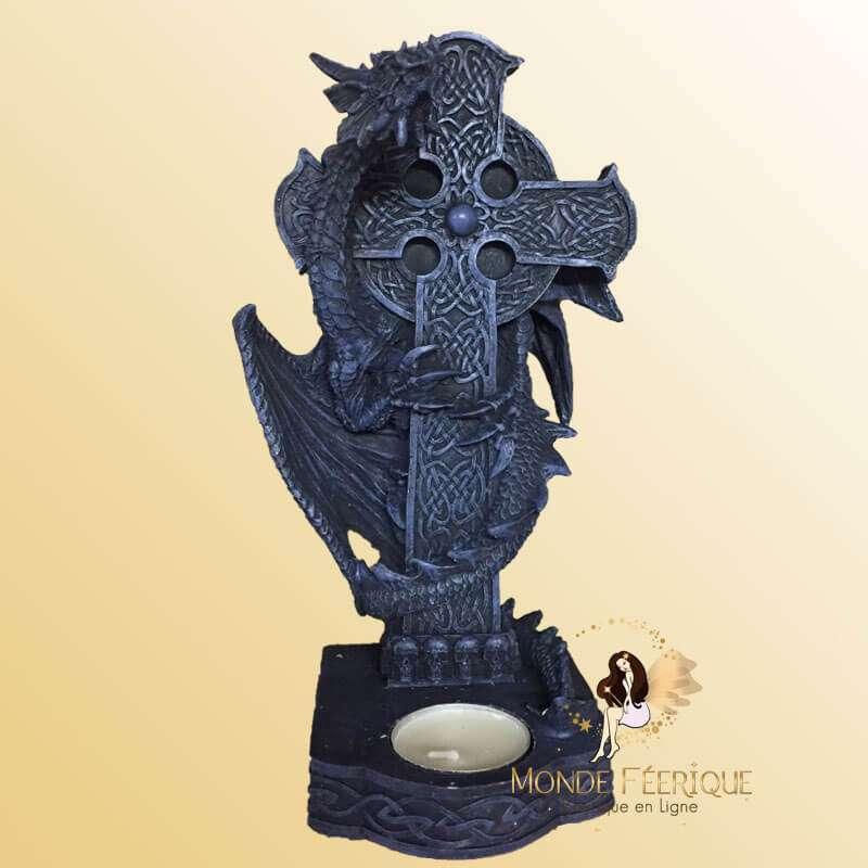 Grand Bougeoir Dragon avec une Croix