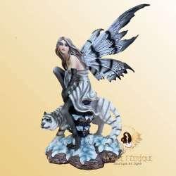 Figurine Fee Candide et Tigre blanc
