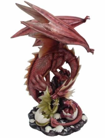 Grande Statuette Dragon Rouge 45cm