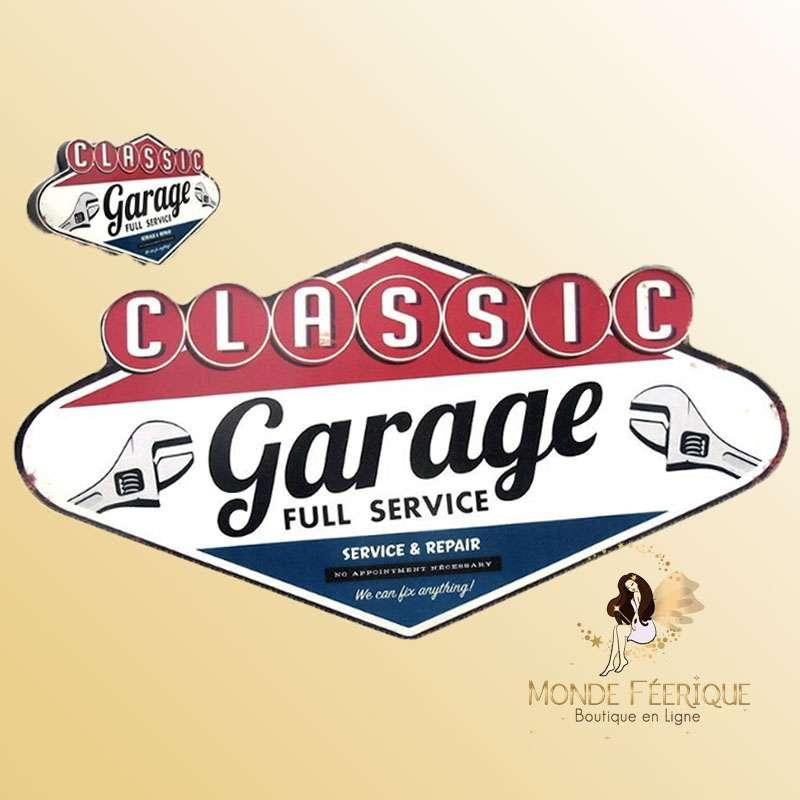 Plaque Metallique Vintage Garage Classic -- 49cm