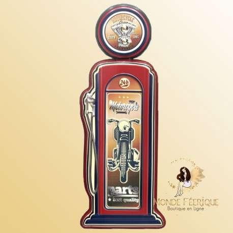 Pompe a essence décoratif Vintage. Motorbike -- 63cm
