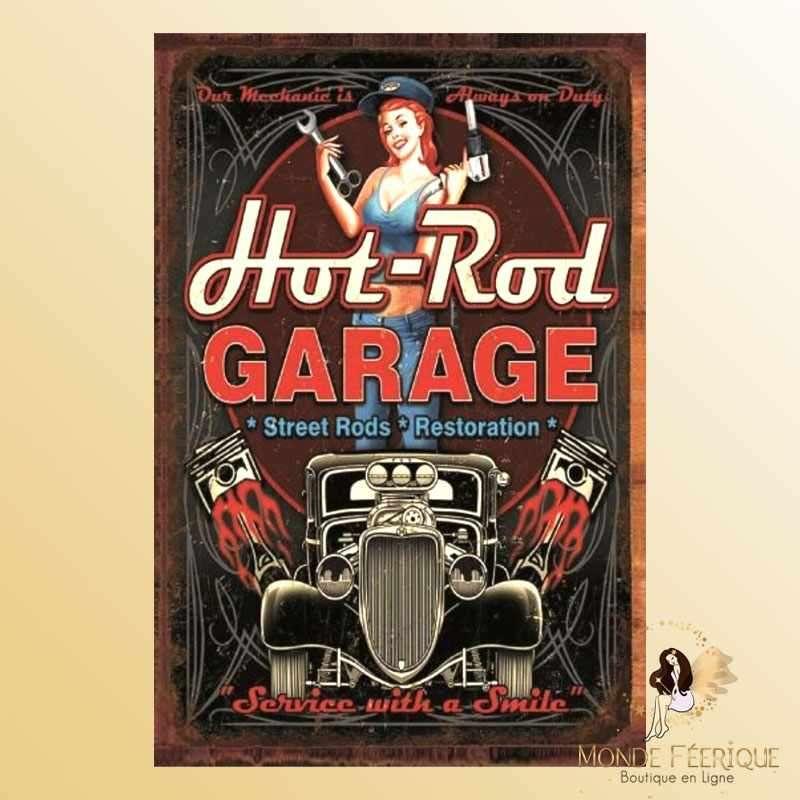 Plaque Métal Garage Vintage -- 20x30cm