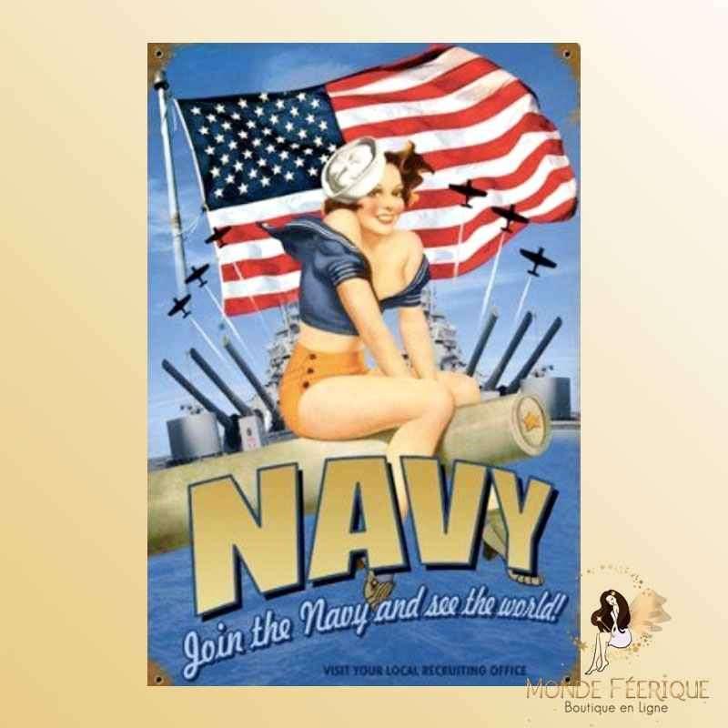 Plaque Métal Décoration Navy -- 20x30cm