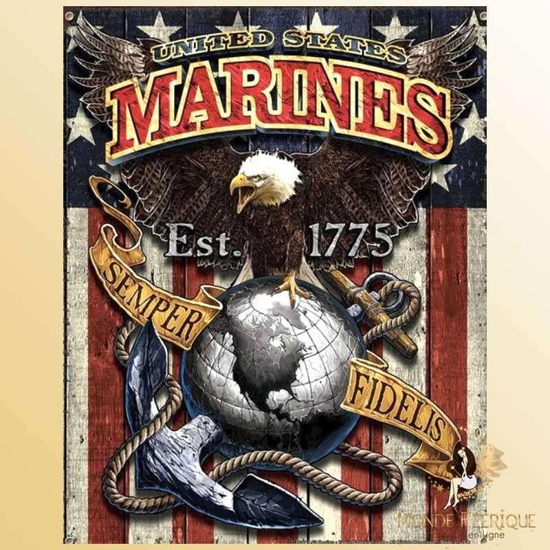 Plaque Métal Décoration Marines USA -- 20x30cm