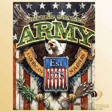 Plaque Métal Décoration armee USA