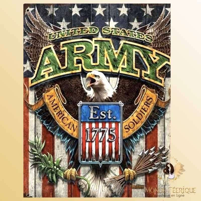 Plaque Métal Décoration Armée USA -- 20x30cm