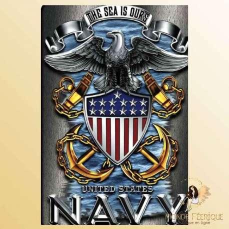 Plaque Métal decoration navy USA armee