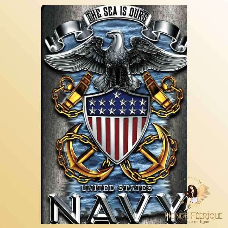 Plaque Métal Décoration Navy USA -- 20x30cm