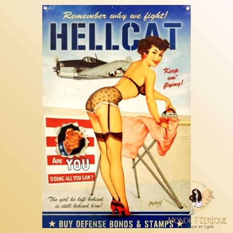 Plaque Métal Décoration Pin Up Publicité Effort de Guerre