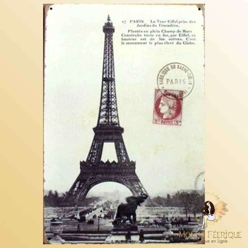 Plaque Métal Paris Romantique Décoration -- 20x30cm