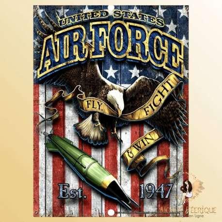 PLAQUE ANCIENNE USA AIR FORCE DECORATION MUR Métal Décoration -- 20x30cm