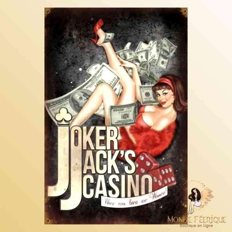 Plaque Vintage Décoration Casino Pin up -- 20x30cm