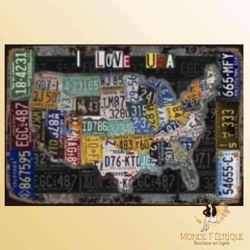 Plaque Vintage Décoration LOVE USA -- 20x30cm