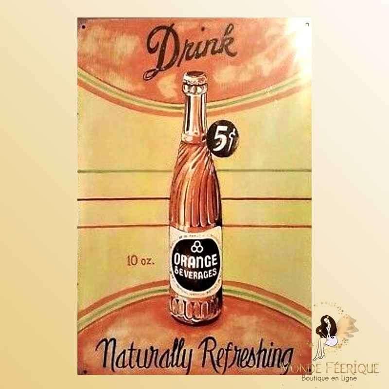 Plaque Vintage Décoration Publicite Jus d'Orange -- 20x30cm