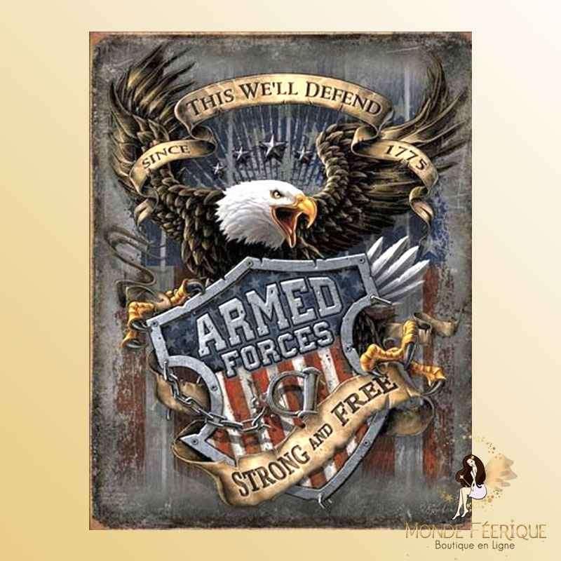 Plaque Vintage Décoration Forces Armées americaines -- 20x30cm
