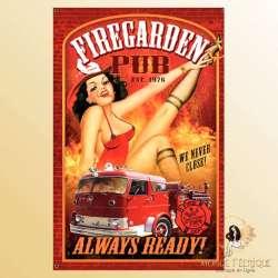 plaque decoration ancienne pompier USA cadeau pompier deco murale pin ups