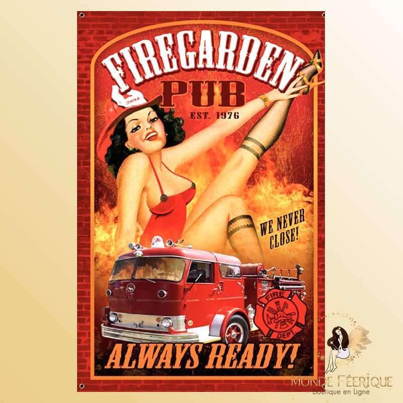 Plaque Vintage Décoration Pompiers -- 20x30cm